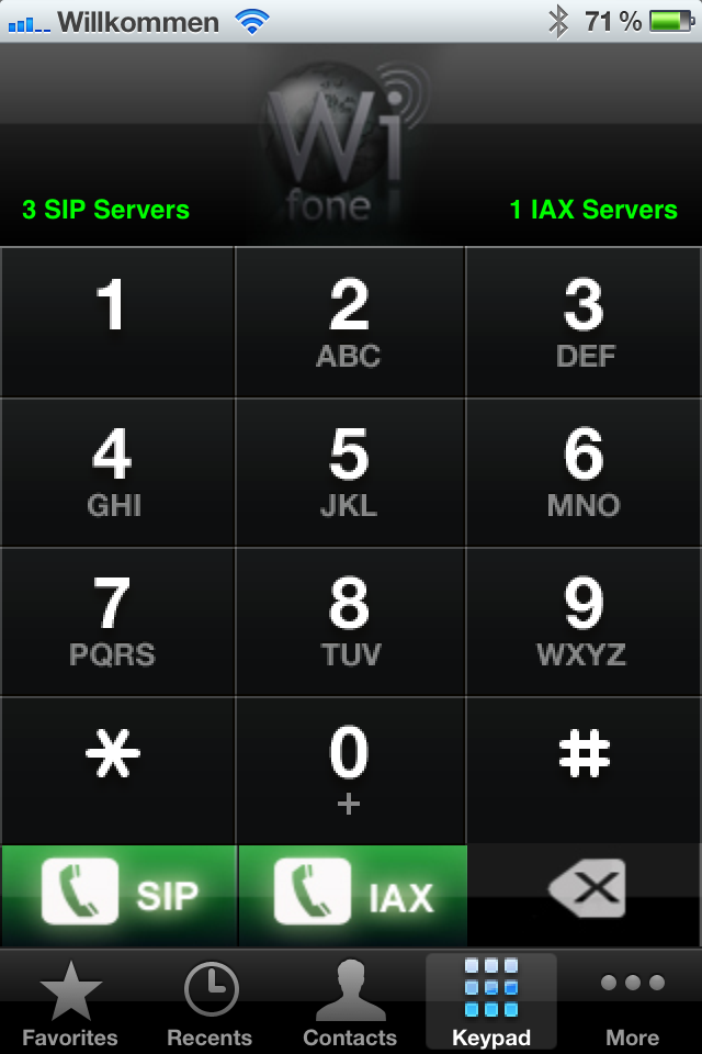 Wifone  - IAX2, SIP & SMS  - VoIP via 3G & Wifi (US-Version) Screenshot 2
